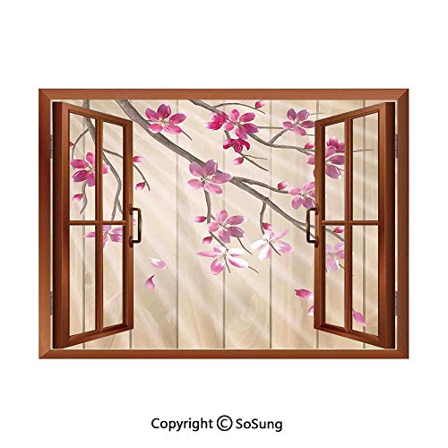 - House Decor Removable Wall Sticker/Wall Mural,Spring Cherry Twig Falling Petals Sun Beams on Wooden Wall Background Illustration Creative Open Window design Wall Decor,24