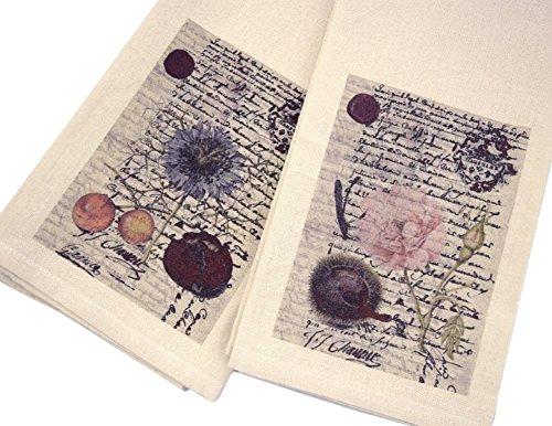 Modern Artisans French Country Kitchen Faux Linen Tea Towel Set of 2: Botanical Script, 27