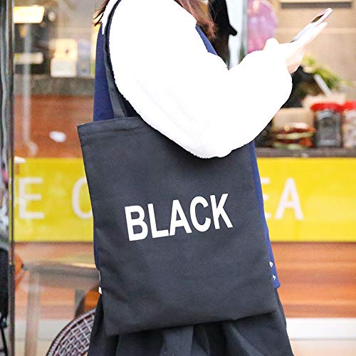 Hot Sale!DEESEE(TM)Foldable Reusable Canvas Eco Handbag Storage Travel Shopping Tote Grocery Bags (Black)