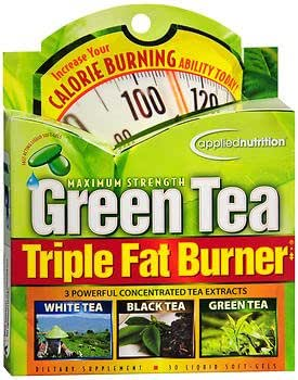 Applied Nutrition Green Tea Triple Fat Burner Liquid Soft-Gels Maximum Strength - 30 ct, Pack of 3