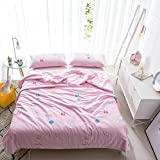 KFZ Summer Quilt Cotton Double layer Yarn Printing Comforter for Bed Set No Pillow Covers YJY Twin Full Queen Princess Cartoon Animal Pink Design For Kids One Piece (Peppa Pig, Pink, Queen,78''x91'')