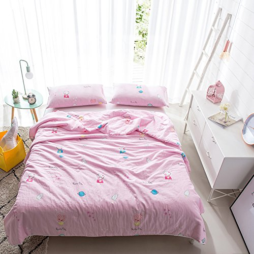 KFZ Summer Quilt Cotton Double layer Yarn Printing Comforter for Bed Set No Pillow Covers YJY Twin Full Queen Princess Cartoon Animal Pink Design For Kids One Piece (Peppa Pig, Pink, Queen,78''x91'') by KFZ