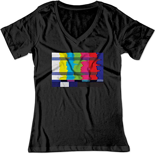 BSW Women's No Channel Color Bars Vintage Off-Air TV V-Neck Shirt LRG Black