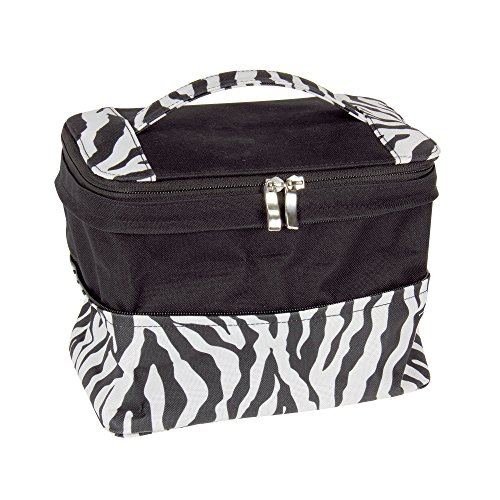Household Essentials Expandable Travel Bag with Mirror Zebra Print, Black/White, One Size