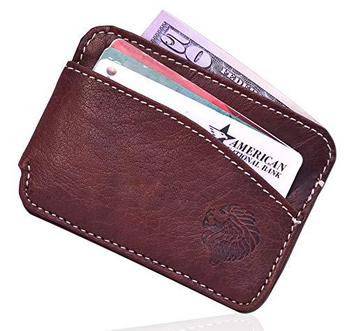 Louis Pelle Leather Men Minimalist Wallet RFID Blocking Slim Wallet