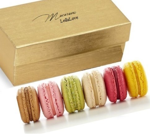 LeilaLove Macarons - 6 Macaron 6 popular flavors -Gift Box may vary in style