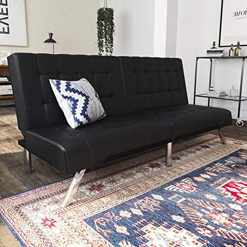 DHP Emily Futon Sofa Bed, Modern Convertible Couch With Chrome Legs Quickly Converts into a Bed, Black Faux Leather (Finish Leather Sofa Room Living)