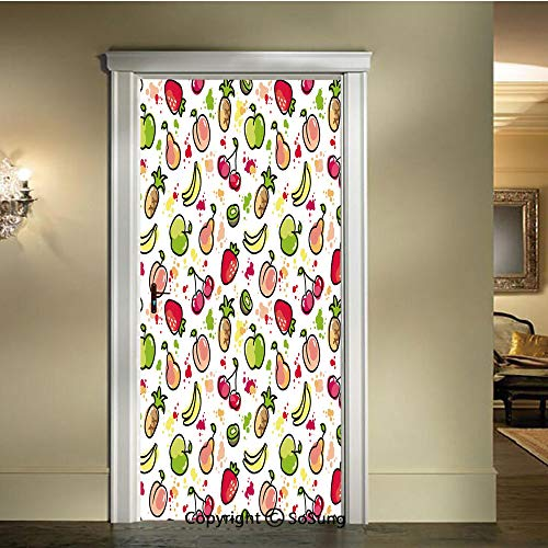 baihemiya Modern Art 3D Door Sticker,Watercolor-Pear-Cherries-Kiwi-Apple-Brushstroke-Splashes-Cute-Kids-Kitchen-Decorative,W30.3xL78.7inch,Removable Door Decal for Home DecorPeach-Lime-Green-Red