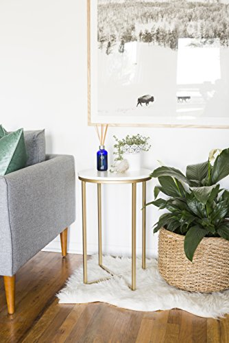 New 16 Inch Wide Round Side Table in Gold with Marble Colored (Gold Side Table)