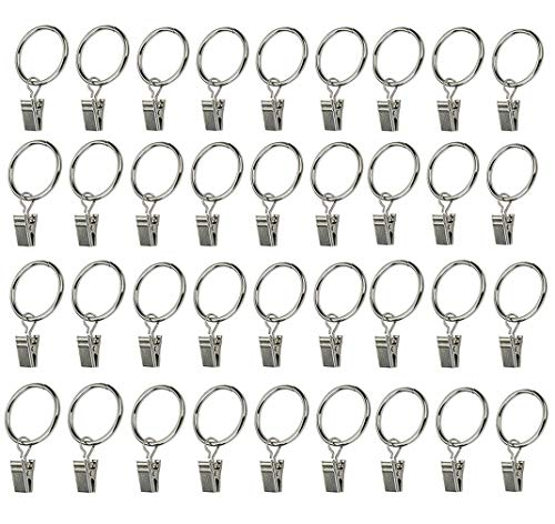 ReachTop Metal Curtain Clips Rings, 36 Pack Stainless Steel Window Drapery Rings Silver Rustproof Shower Curtain Rod Rings with Clips 1.25'' Interior Diameter