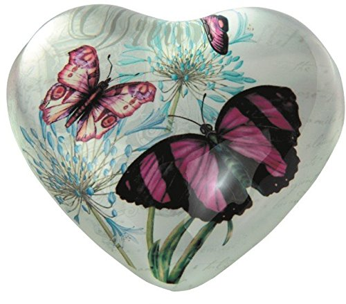 StealStreet SS-G-22014 Heart Shaped Dream Design Paper Weight with Pink Butterflies, 4 4 GSC
