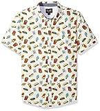 Retrofit Sportswear Men's Button Down Party Print Shirt, White/Junk Food, Small