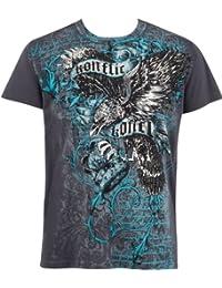 Sakkas Eagle Clutching Crown Metallic Silver Fashion T-Shirt