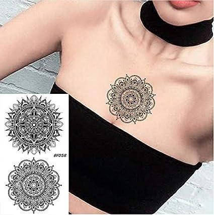 yyyDL Tatuaje de flores Pegatinas Mujeres Pecho Brazo Arte Tatuaje ...