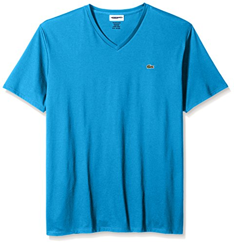 Lacoste Men's Short Sleeve V Neck Pima Jersey Shirt T-Shirt, TH6710, Plane, Small by Lacoste