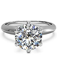 3 Ct CZ Solitaire Engagement Ring Sterling Silver White Gold Plated Size 4-9 Anniversary Rings