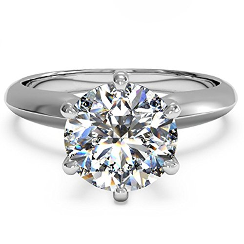 - Lemon Grass 3 Ct Round Cut Diamond Solitaire Engagement Ring Sterling Silver White Gold Plated Size 8