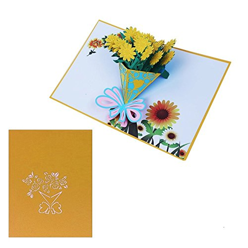 Luoxa Sun flower 3D Pop-Up Greeting Cards With Envelopes – Mother's Day cards ,Thanks Giving, Baby Showers, House Warming, Birthdays, Wedding or Anniversaries All Occasion Greeting Cards