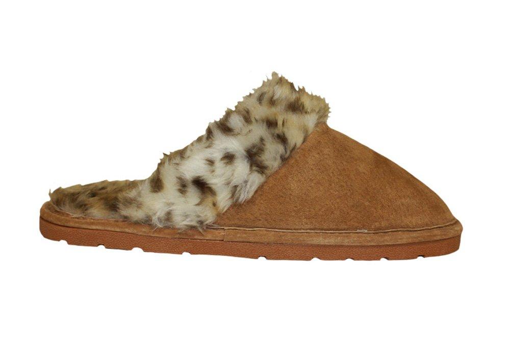 Lamo Sheepskin Scuff - Womens - leopard, large