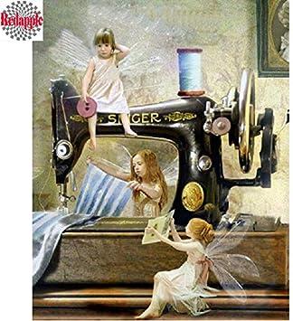 FHGFB 5D DIY Kit de numeración de Pintura de Diamantes Máquina de Coser Ángel Bordado Punto de Cruz artesanías de Arte Lienzo decoración de Pared Regalo Diamante Redondo sin Marco -40x50cm