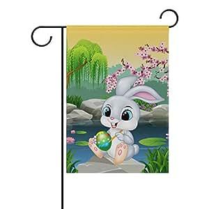vantaso jardín bandera decorativa, diseño de conejo pintura colorido huevos de Pascua poliéster impresión a doble cara Fade prueba para patios al aire libre jardín 12X 18inch
