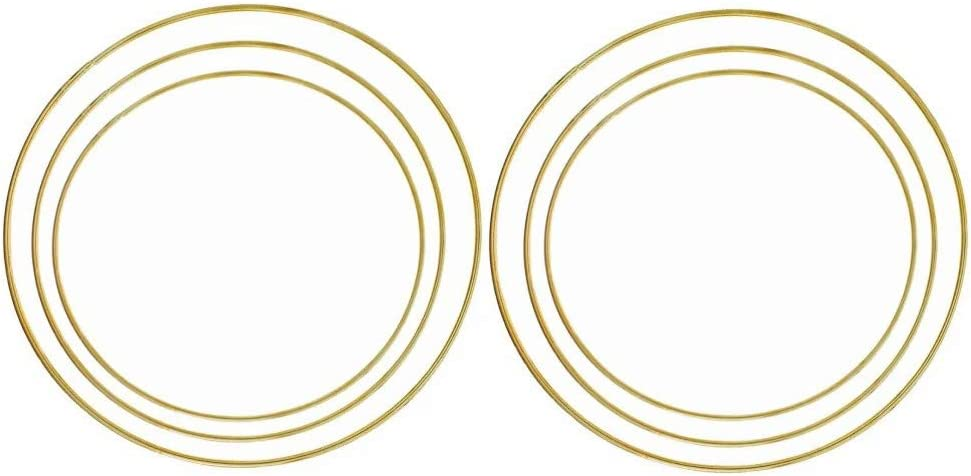 Fasdu 6PCS 16 Inch 18 Inch 20 Inch Large Gold Metal Hoops Macrame Rings for Dream Catchers and Crafts Wreath Ring Metal Floral Hoop