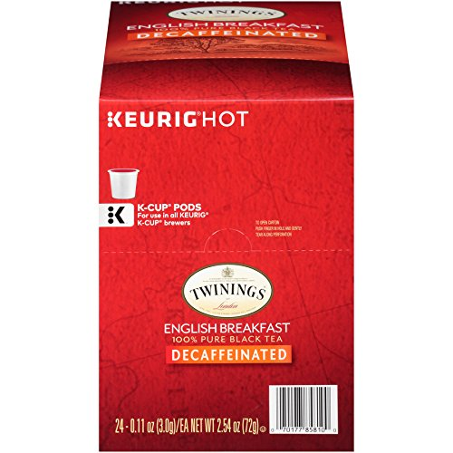 Decaffeinated Irish Tea - Twinings of London Decaffeinated English Breakfast Tea K-Cups for Keurig, 24 Count