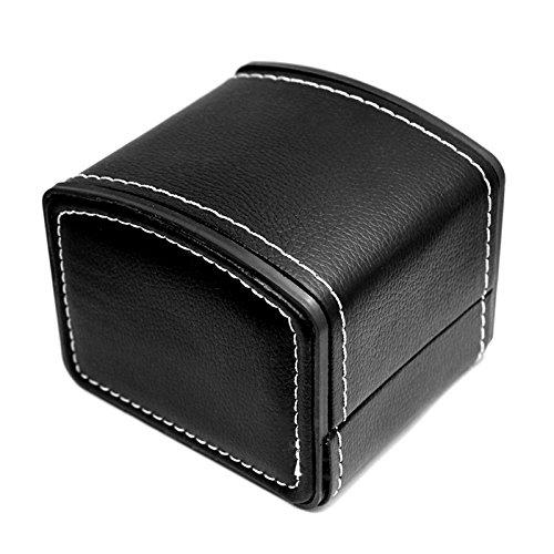 NICERIO Guarda Jewelry Box Organizer, Single Grid Cuoio regalo bracciale gioielli custodia Organizzatore, 10 * 9 * 8 cm (L * W * H), nero