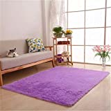 Ultra Soft 4.5cm Thicken Fur Shag Area Rugs Indoor Morden Super Soft Solid Living Room Bedroom Sitting Room Washable Area Rug and Carpets,40x60cm(Purple)