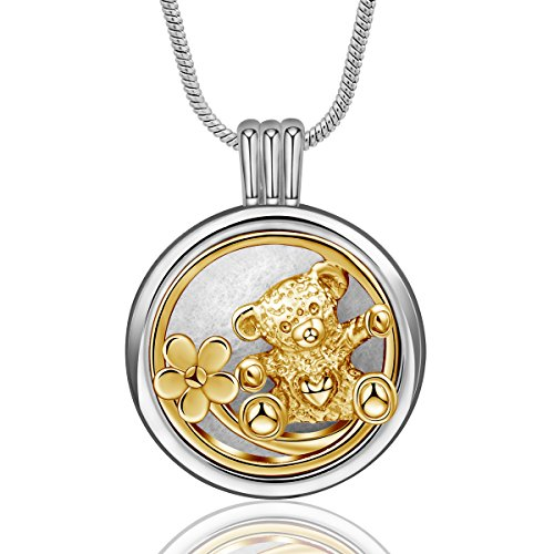 Pendant 15 Plumeria Mm (INFUSEU Cute Bear Aromatherapy Necklace Essential Oil Diffuser Locket Pendant Jewelry for Women Girl, 12PCS Refill Pads, 24