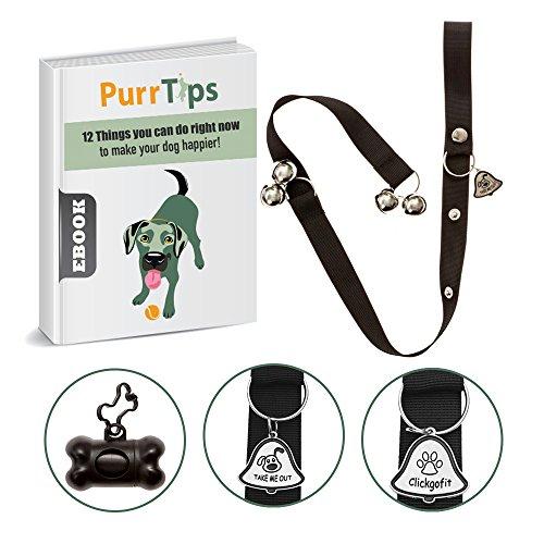 Dog Doorbells for Potty Training-Door Adjustable-Exclusive Design-Instructional Guide|One Poop Bag Holder+Bag and ebook Included By Clickgofit