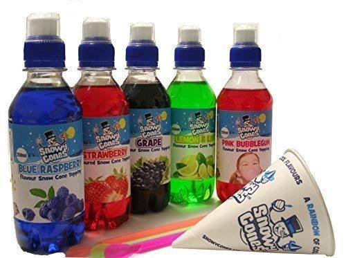 NEIGE cônes goûts Spécial 5 X 250ml packs. fabriqué pour rasé Glace et neige cône nappage GRATUIT NEIGE cônes et paille cuillères SnowyConesTM
