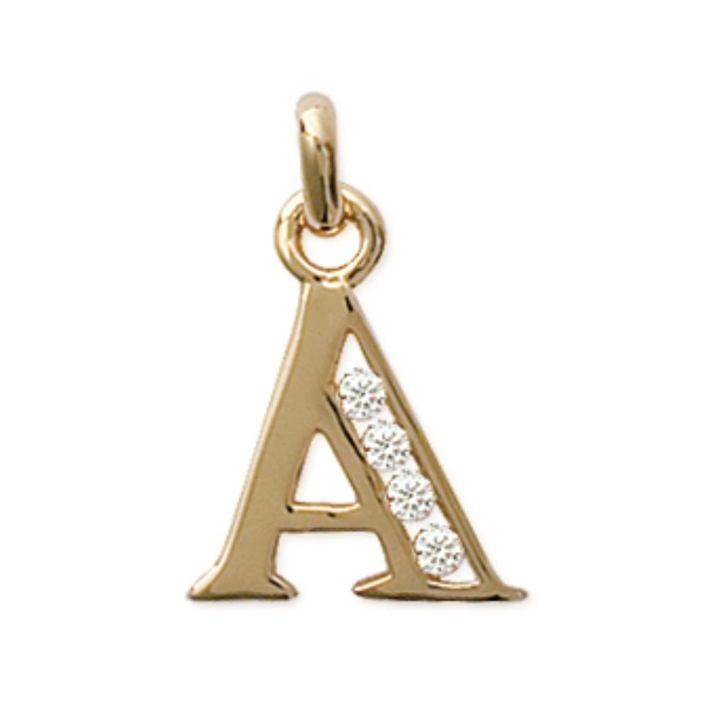 "ISADY - Shine Gold "" A "" - Pendentif - Initiale Lettre Alphabet - Plaqué Or 750/000 (18 carats) PenIniBatonCZOrA"
