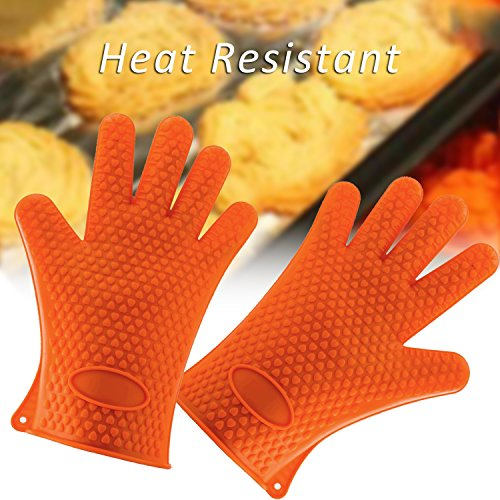 Show (3 Pieces) Silicone Heat-Resistant Gloves & Basting Brush & Pot Holder,Cooking Gloves for Barbecue,Oven Baking,Smoking & Potholder price