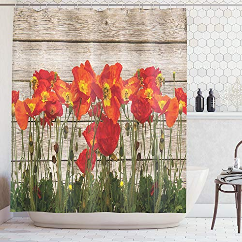 - Ambesonne Rustic Home Decor Shower Curtain, Close Line of Poppy Petals Field Meadow Summer Sun Plant Floral Theme, Fabric Bathroom Decor Set with Hooks, 75 Inches Long, Orange Brown