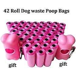 HIGHUP Pooper Scoopers & Bags - 1Pack=12/20/42 Rolls Dog Poop Bags with Dispenser Capsule Shape Doggie Waste Bags Pooper Scoopers Bags 3 Color 1 PCs