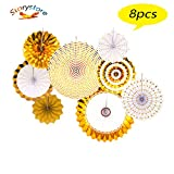 Fiesta Colorful Paper Fans Lantern Round Wheel Disc Design for Party,Event,Wedding Birthday Carnival Home Decorations (Gold, 8 PCS)