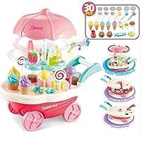 BabyGo Mini Sweet Cart Pretend Play Ice Cream Sweet Shop Lighting Music Children Educational Plastic Cosplay Kitchen Toys Set 360° Rotation (30 Pieces)