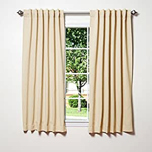 "Best Home Fashion Thermal Insulated Blackout Curtains - Back Tab/ Rod Pocket - Beige - 52""W x 63""L - (Set of 2 Panels)"