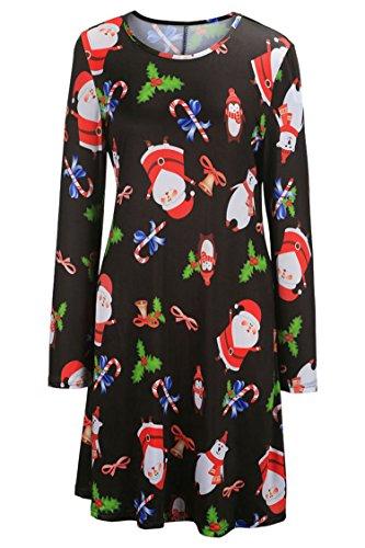 LaSuiveur Women's Christmas Santa Claus Print Pullover Flared Dress (Teen Christmas Dress)