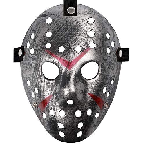 Jason Full Face Head PVC Hockey Mask Novelty Costume Party Horror Prop Halloween Festival Mask (Ancient Silver)