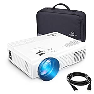 VANKYO LEISURE 3 (Upgraded Version) 2200 lumens LED Portable Projector with Carrying Bag, Video Projector with 170'' Display and 1080P Support, Compatible with Fire TV Stick, PS4, HDMI, VGA, TF, AV and USB with HDMI Cable (1-White)