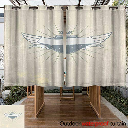 RenteriaDecor Outdoor Curtain for Patio Heraldic Shield W96 x L72