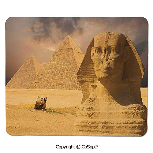 Sphinx Slip - Gaming Mouse Pad,The Great Sphinx Face with Other Pyramids in Egypt Old Historical Monument,Water-Resistant,Non-Slip Base,Ideal for Gaming (11.81