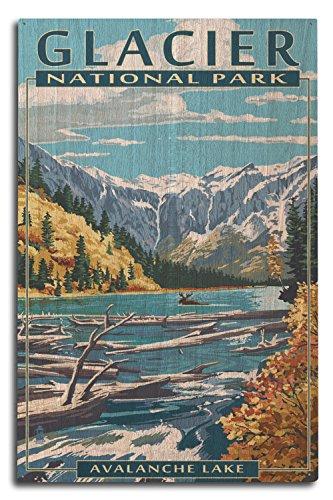 Lantern Press Glacier National Park, Montana - Avalanche Lake (10x15 Wood Wall Sign, Wall Decor Ready to Hang)