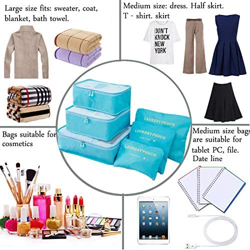 M-jump Clothes Storage Bags Packing Cube Travel Luggage Organizer Pouch,6 Set Travel Multi-functional Clothing Sorting Packages (Sky blue)