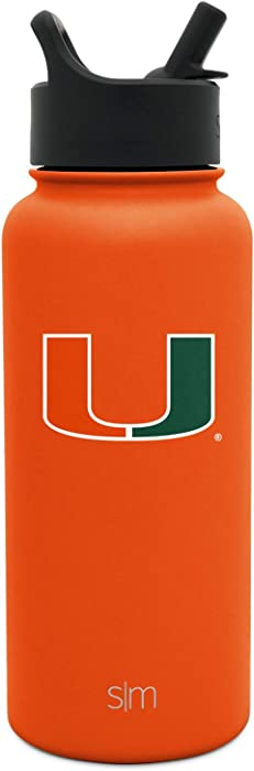 Simple Modern 32oz Summit Water Bottle with Straw Lid - Leakproof Travel Tumbler Stainless Steel - Gifts for Men Women Dads: Miami Hurricanes