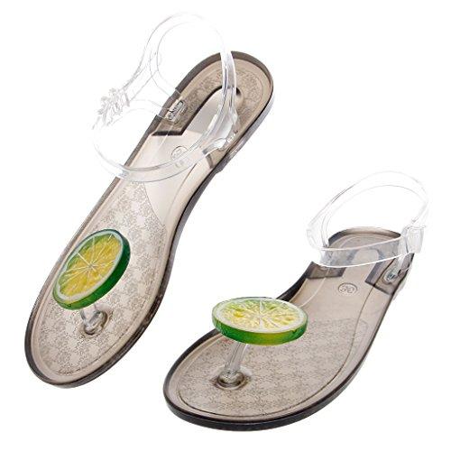 Green Jelly Sandals (NNDA CO Summer Jelly Thong Beach Sandal Plastic Flat Slipper Womens,PVC,1 set (39, Transparent Green))