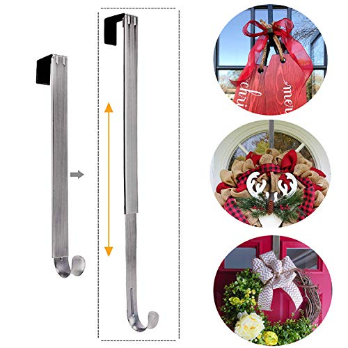 Reef Hanger - LBSUN Wreath Hanger, Adjustable Over The Door Wreath Hanger Wreath Holder Wreath Hook for Door Christmas (Nickel,20 lbs)