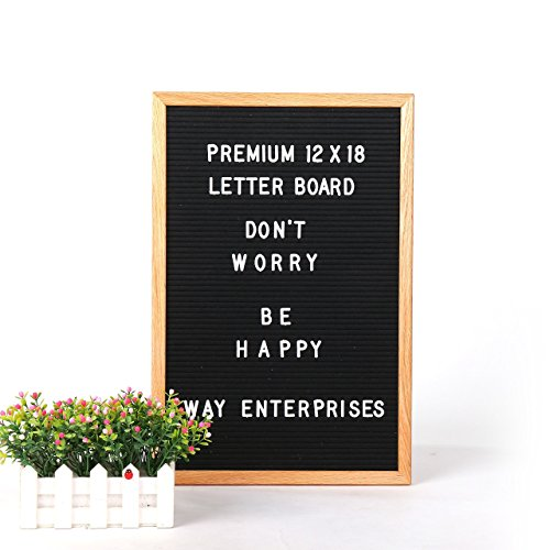 Felt Letter Board with Changeable Letter Set And Cotton Bag, 12x18'' Oak Menu Board With 346-3/4 Inch Letter Tiles, Including Numbers & Special Characters For Home Decoration by WAY Enterprises, LLC by WAY Enterprises, LLC